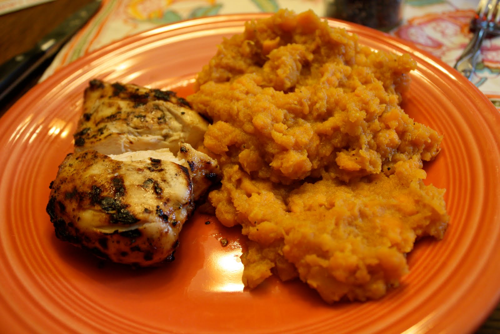 Grilled Chicken And Mashed Sweet Potatoes Hankbob Bbq